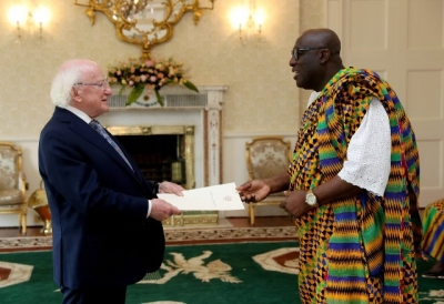 Owusu-Ankomah presents letters of credence to Irish president