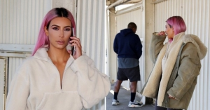 Kanye West takes the p*ss as he 'relieves' himself with a pink-haired Kim Kardashian