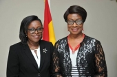 New Judicial Secretary Cynthia P. A. Addo (Left) in a pose of Chief Justice Sophia A.B. Akuffo