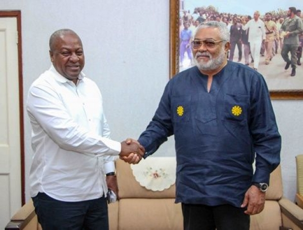 Former President Mahama (left) with the Founder of NDC, John Rawlings (right)